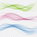 Grupo de onda abstrata da cor Onda do fumo da cor Onda transparente da cor Cor azul, cor-de-rosa, vermelha ilustração stock
