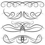 Grupo de ondas decorativas do vintage, de redemoinhos, de monogramas e de beiras caligráficas ilustração royalty free