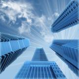 Grupo de opinión de los rascacielos de debajo stock de ilustración