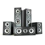Grupo de oradores audio Altifalante no branco Imagens de Stock