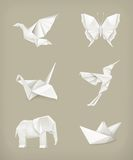 Grupo de Origami, branco Foto de Stock Royalty Free