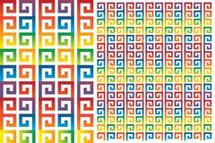 Grupo de ornamento do arco-íris do meandro ilustração do vetor