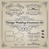 Grupo de ornamento do casamento do vintage e de elementos decorativos Fotografia de Stock Royalty Free