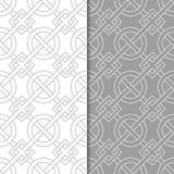 Grupo de ornamento geométricos Testes padrões sem emenda cinzentos e brancos Fotos de Stock Royalty Free