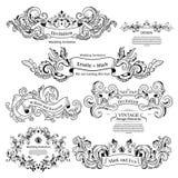 Grupo de ornamento vitorianos do vintage Projeto Wedding ilustração royalty free