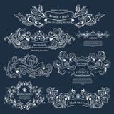 Grupo de ornamento vitorianos do vintage Projeto Wedding ilustração do vetor