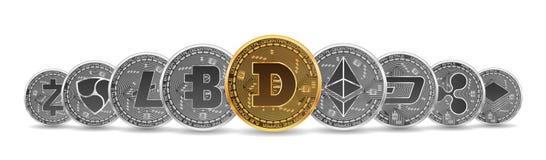 Grupo de ouro e das moedas criptos de prata Foto de Stock