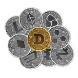 Grupo de ouro e das moedas criptos de prata Imagem de Stock