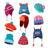 Grupo de outono, chapéus do inverno para homens, mulheres e crianças imagens de stock royalty free