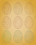 Grupo de ovos da páscoa. Fotos de Stock