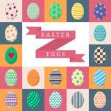 Grupo de ovos da páscoa Ovos coloridos com listras, pontos, corações e testes padrões no branco, no rosa, na laranja e no Grey Sq ilustração stock