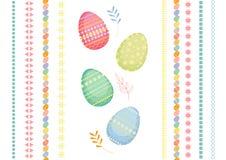 Grupo de ovos da páscoa coloridos com testes padrões diferentes ilustração royalty free