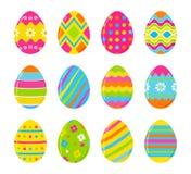 Grupo de ovos da páscoa coloridos do vetor Decoração para o projeto da Páscoa Isolado no fundo branco Fotografia de Stock Royalty Free