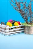 Grupo de ovos da páscoa coloridos em uma caixa de madeira branca Foto de Stock Royalty Free