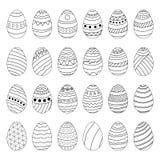 Grupo de ovos da páscoa Desenho da mão ilustração stock