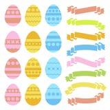 Grupo de ovos da páscoa e de bandeiras isolados coloridos da fita no fundo branco Com um teste padrão abstrato Illustrat liso sim Fotografia de Stock
