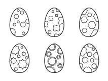 Grupo de ovos da páscoa em um fundo branco Fotos de Stock Royalty Free