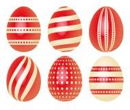 Grupo de ovos da páscoa no vermelho Fotos de Stock