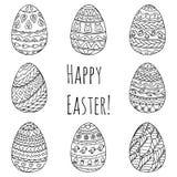Grupo de ovos da páscoa Ornamento preto e branco que tira à mão Imagem de Stock Royalty Free