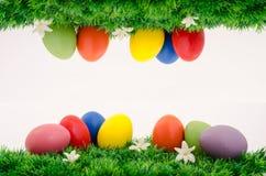 Grupo de ovos de easter na grama Imagens de Stock
