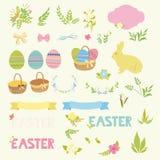 Grupo de ovos felizes dos elementos do projeto da Páscoa, fitas, quadros, florais Imagens de Stock Royalty Free