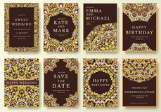 Grupo de páginas luxuosas do inseto com conceito caligráfico da ilustração do ornamento Arte tradicional, Islã do vintage, árabe Foto de Stock Royalty Free