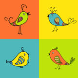 Grupo de pássaros da cor para o projeto ilustração stock