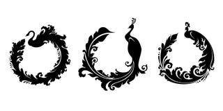 Grupo de pássaros decorativos: cisne, pavão Fotografia de Stock Royalty Free