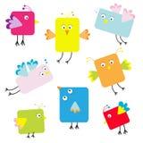 Grupo de pássaros quadrados bonitos dos desenhos animados Foto de Stock