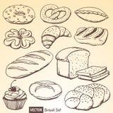 Grupo de pão e de rolos do vetor Fotos de Stock Royalty Free