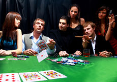 Grupo de póquer sinistro Fotografia de Stock Royalty Free