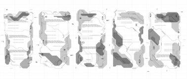 Grupo de painéis infographic de HUD Painéis de exposição da cabeça-acima para a Web e o app Interface de utilizador futurista Grá Foto de Stock