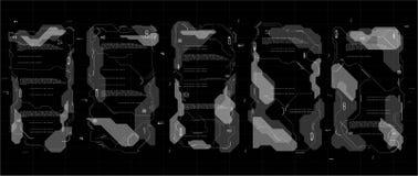 Grupo de painéis infographic de HUD Painéis de exposição da cabeça-acima para a Web e o app Interface de utilizador futurista Grá Fotografia de Stock