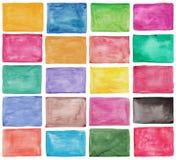 Grupo de paletas coloridas da aquarela Fotografia de Stock Royalty Free