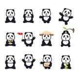 Grupo de pandas engraçadas bonitos dos desenhos animados Fotos de Stock Royalty Free