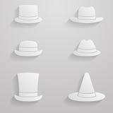 Grupo de papel do ícone dos chapéus Ilustração do Vetor