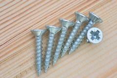 Grupo de parafusos na madeira Fotografia de Stock Royalty Free