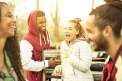 Grupo de pares multirraciales del amigo que tienen tiempo de la diversión hacia fuera en el parque Foto de archivo