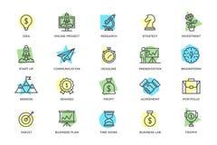 Grupo de partida do vetor e linha colorida ícones do negócio com títulos Pico de montanha, alvo, ampola, troféu, concessão Foto de Stock