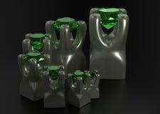 Grupo de pedras de gemas na ilustração da montagem 3d do suporte do metal Fotografia de Stock Royalty Free