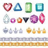 Grupo de pedras preciosas, de elementos decorativos e de correntes ilustração stock