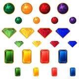 Grupo de pedras preciosas em um fundo branco Foto de Stock Royalty Free