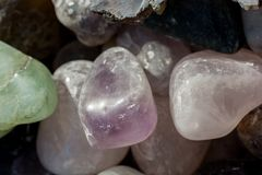 Grupo de pedras preciosas minerais naturais Fotos de Stock