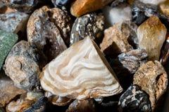 Grupo de pedras preciosas minerais naturais na vista Imagens de Stock Royalty Free