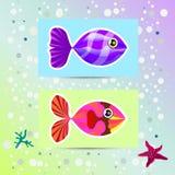 Grupo de peixes coloridos incomuns Imagens de Stock