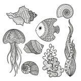 Grupo de peixes da vida marinha Imagem de Stock