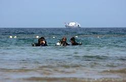 Grupo de pele-mergulhadores fotografia de stock