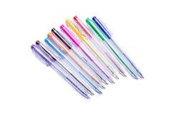 Grupo de penas coloridas do gel com tinta Fotografia de Stock