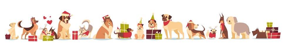Grupo de perros lindos en días de fiesta del Año Nuevo y de la Navidad de Santa Hats Symbol Of 2018 aislados en el fondo blanco Foto de archivo
