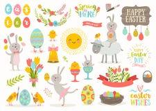 Grupo de personagens de banda desenhada da Páscoa e de elementos do projeto Imagens de Stock